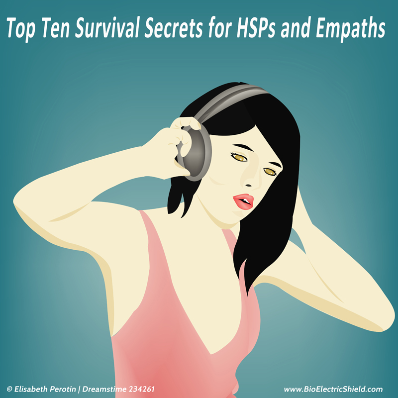 Top Ten Survivial Tips HSP and empaths - woman with headphones to get quiet time in flight