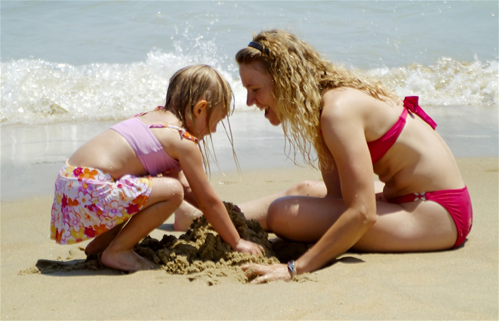 Mother-DaughteronBeachHavingfun
