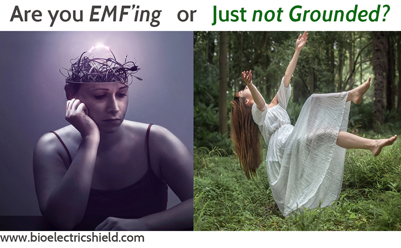 double photo, woman with wires, and woman floating