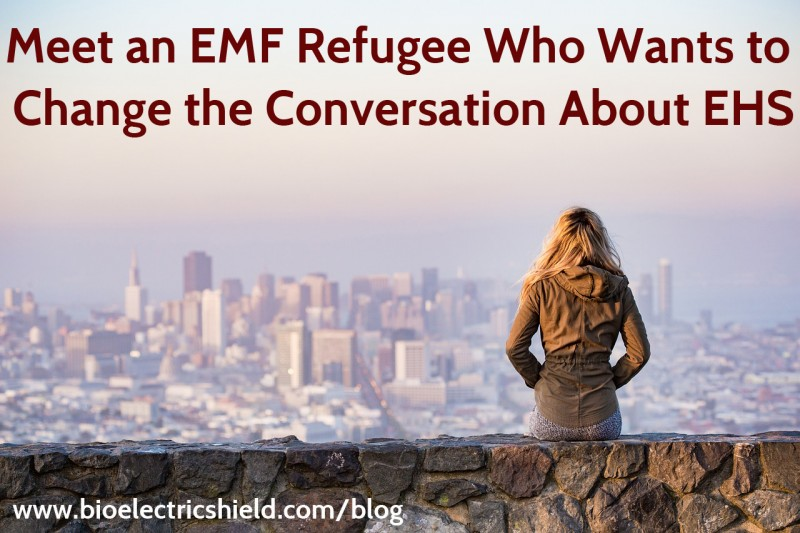 Photo of EMF Refugee looking at city she's had to leave