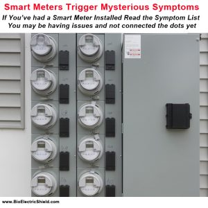 Photo of smart meter bank on apartment wall - cause mysterious symptoms