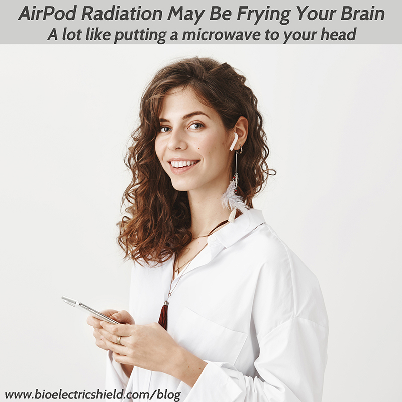 Picture of woman with a cell phone and Bluetooth headset AirPod Radiation May Be Frying Your Brain - a lot like putting a microwave to your head.
