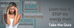 take the emf protection quiz - shows woman sensitive holding head